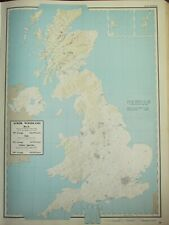 VINTAGE LARGE MAP of BRITAIN SCRUB WOODLAND BIRCH OAK ACREAGE
