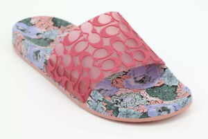 New in Box COACH UDELE SIGNATURE LOGO FLORAL POOL SLIDES SANDALS ORCHID