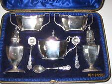 More details for solid silver condoments set /cruet set 8 pieces boxed