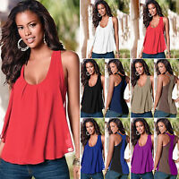 Womens Vest Sleeveless Tank Tops Summer Casual Blouse Loose Plus Size T Shirt