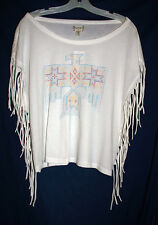 Denim & Supply Ralph Lauren Womens L Ivory Fringed Pullover Crop Top Shirt L