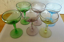 6 Vintage Purple Green Blue Yellow Mini Stem Coupe Champagne Sherbet Glasses