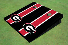 "University Of Georgia ""G"" Red And Black Matching Long Stripe Custom Cornhole Boa"