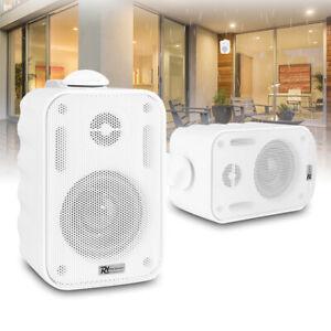 "White 3"" Wall Speakers Weatherproof Outdoor Garden Background Music 100V (Pair)"
