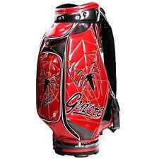"""GUIOTE GOLF PREMIUM CADDIE STAFF CART BAG RED SPIDER 10"""" TOP w/RAINHOOD"""