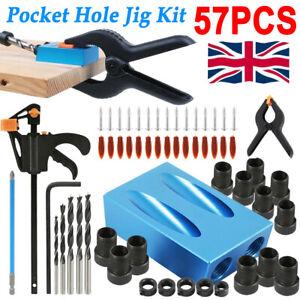 57PCS Pocket Hole Jig Kit Set Woodworking Guide Oblique Drill Angle Hole Locator