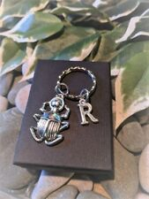 Handmade Lucky Silver Scarab Keyring. Personalised. Gift Boxed.