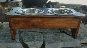 """Custom 2 Quart Raised Wood Bone Dog Feeder (8 1/4"""" H)"""