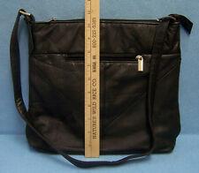Genuine Leather Black HandBag Purse Shoulderbag Silver tone Buckle zipper tab