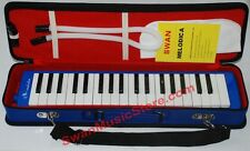 New Swan 37 Key Melodica with Carrying Case, 3 Octaves,F to F, High Quality,Blue