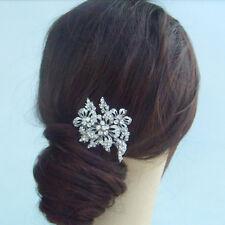 Sparkling Wedding Flower Hair Comb Clear Austrian Crystal Tiara FSE05829C1