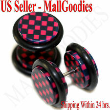 1267 Fake Cheater Illusion Faux Ear Plugs Red Checkered Print Parttern 00G 10mm