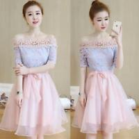 Women's Chic Korean Off-shoulder Lace Dress Bowknot Party Bridemaid Elegant New