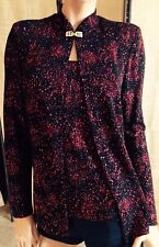NWT*R & M Collection~S~BLACK/RED LONG SLV GLITTER WEAR HOLIDAY/PARTY TUNIC/TOP