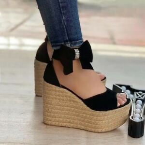 Womens Peep Toe Bows Ankle Strap Sandals Wedge High Heels Summer Platform Shoes