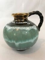 Small Drip Glaze Pottery Creamer Pitcher Blue Green Aqua Brown With Gold Accent