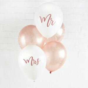 Mr and Mrs Balloons 5 pack Rose Gold Wedding Decoration