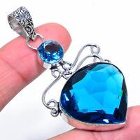 "London Blue Topaz Gemstone Sparkling Handmade Ethnic Style Jewelry Pendant 2.56"""