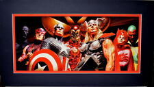 AVENGERS BIG NINE PROFESSIONALLY MATTED PRINT Alex Ross Art Marvel