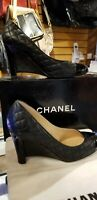 CHANEL Shoes QUILTED BLK LEATHER DESIGNER orig$1500 WEDGE PUMP Euro38 (7.5 USA)