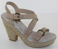 Matisse Pout Womens Size 9M Beige Leather Wedge Platform Sandals Heels Shoes NEW