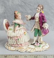 Vintage Porcelain Lace Figurine Figure Courting Couple Volkstedt Dresden jds