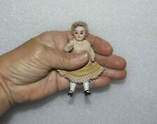 "ANTIQUE ALL BISQUE DOLL Brown Glass Eyes VTG 3 1/2"" GERMAN JOINTED MIGNONETTE"