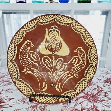 """Contemporary Primitive Red Ware """"LANCASTER COUNTY PA. NED FOLTZ"""" Plate"""