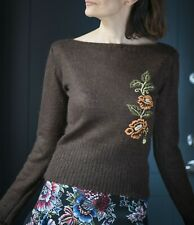 Vintage sweater floral embroidery women brown wool pullover slash neck size S