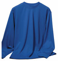 Tri-Mountain Men's Big And Tall Long Sleeve Pique Crewneck T-Shirt. 622-Tall