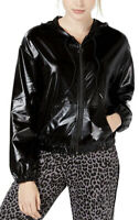 Material Girl Women's Black  Bomber Jacket With Hood Lightweight Juniors Size M