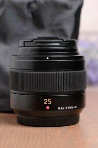 Panasonic H-XA025 LEICA DG SUMMILUX 25mm/F1.4 II ASPH. Lens with Bag and Caps