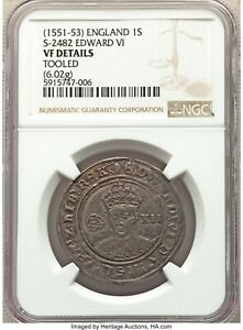 Edward Tudor VI 1551-1553 Shilling Hammered NGC VF Details, Tooled England