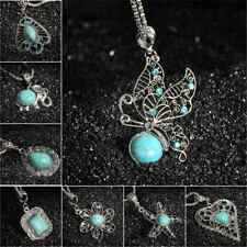 Turquoise Vintage Tibetan Silver Bib Crystal Pendant Fashion Chain Necklace New
