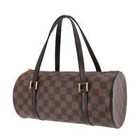LOUIS VUITTON Papillon Hand Bag PM Damier Leather Brown N51304 Auth #NN443 O