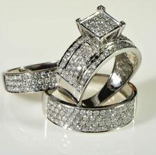 Diamond Wedding 14K White Gold Fn Trio His Her Bridal Band Engagement Ring Set
