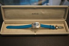 Marcus Ladies Quartz Wristwatch with Blue Dial on Blue Leather Strap