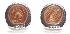 Exquisite- Coffee Brown Enamel Circle & Chrome Bordered Stud Earrings(Zx299)