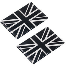 Pair Union Jack Badge Gel Finish Sticker Silver Black Universal Fit UK Flag S223