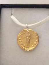 "Aureus Of Vespasian Coin WC16 Gold Made From Pewter On 18"" White Cord Necklace"