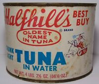 Vintage 1950s HALFHILL TUNA GOD OF SEA TRIDENT GRAPHIC TIN LONG BEACH CALIFORNIA