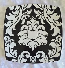 "Roscher Damask Black White Square Floral Scrolls ONE 10"" Dinner Plate"