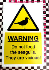 A5 Do Not Feed Vicious Seagull Gull Warning Sticker Sign - Pub Restaurant Hotel