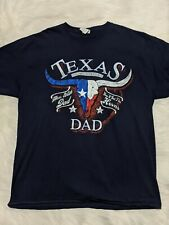 Texas Flag Longhorn Dad Blue Funny Shirt Size XL