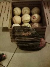 9 softballs and 1 Rawlings 12 1/2 Inch Glove