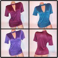 No Boundaries Choker Shirt Top Cutout Short Sleeve Stretch Blouse