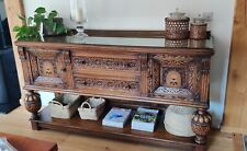 More details for large antique oak carved sideboard with stunning detail and lockable drawer