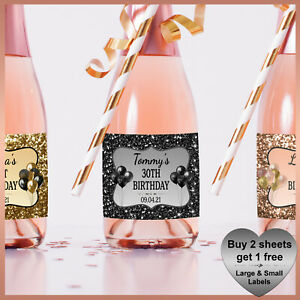 Personalised Birthday Hen Party CHAMPAGNE WINE Prosecco LABELS Small Mini Bottle