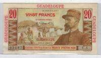 """Guadeloupe Caisse Central de La France D""""outre-Mer 20 Francs Note Uncirculated"""