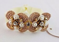 Rhinestone pearl hair tie bracelet ponytail holder stretch gold beads flowers